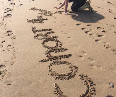 cohort 4 on the beach